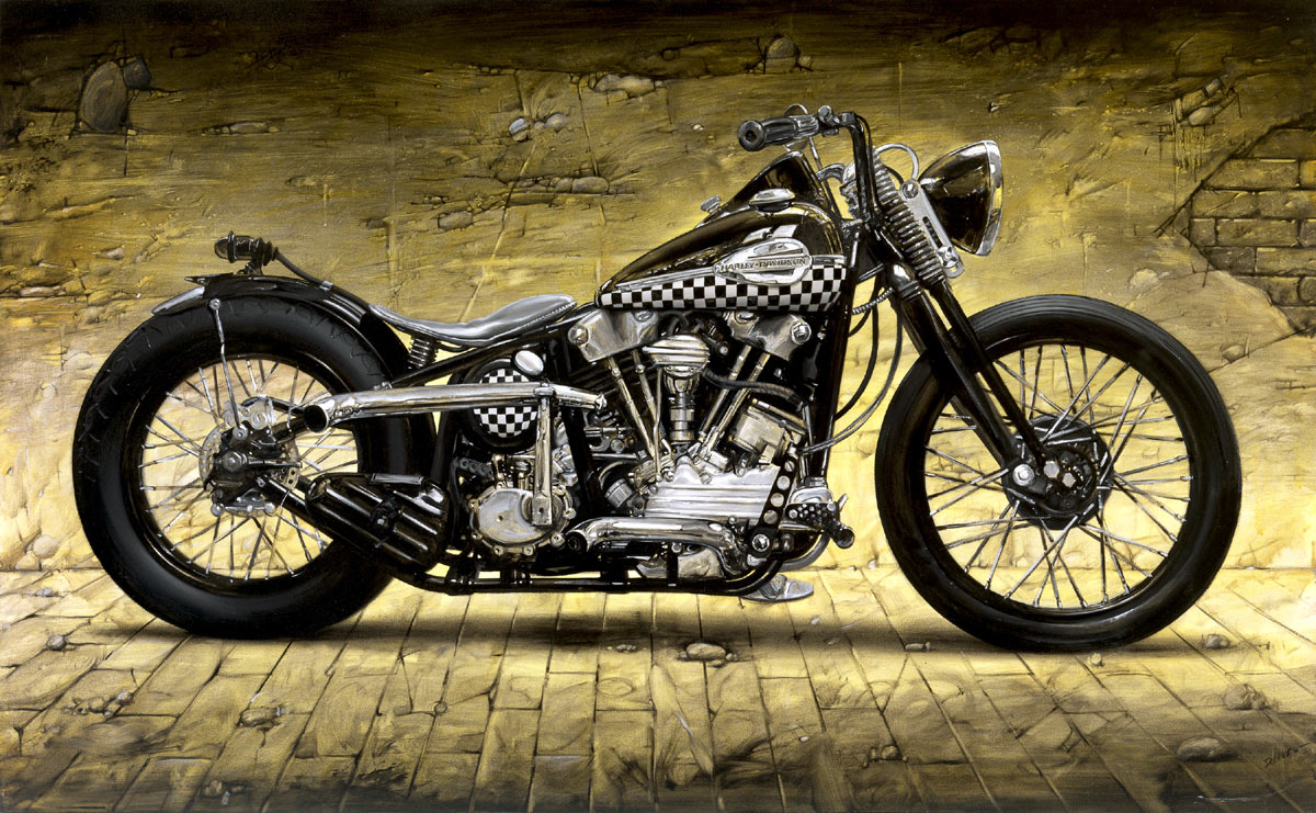 harley davidson knucklehead motor bike fine art print ebay. Black Bedroom Furniture Sets. Home Design Ideas